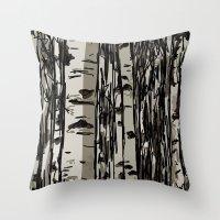 birch Throw Pillows featuring Birch by LeahOwen