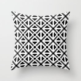Geo Stamp Black Throw Pillow