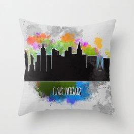 Watercolor art of the Las Vegas skyline silhouette Throw Pillow