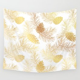 Golden floral pattern with pine cones and branches. Wall Tapestry