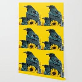 TWO CROW/RAVEN BIRD PORTRAITS & SUNFLOWERS GOLD  ART Wallpaper