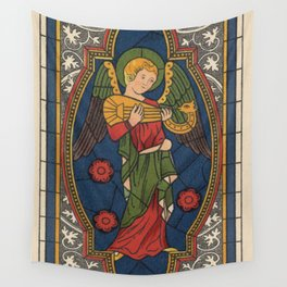Stained Glass Angel from Temple Church London 1400 Wall Tapestry