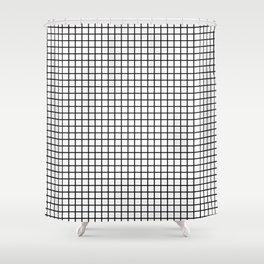 Grid_Black & White_Minimalist Art Shower Curtain