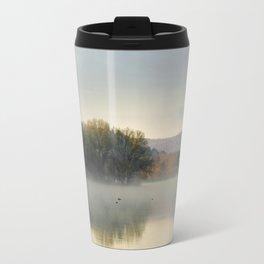 Misty Lake Sunrise Travel Mug