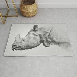 Rhino Art | Minimalism | Black and White | Animal Photography Rug