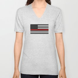 Firefighter: Black Flag & Red Line Unisex V-Neck