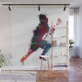 Lacrosse player art 1 Wall Mural
