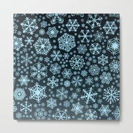 Blue Snowflake Background Metal Print