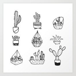 Minimalist Cacti Collection Black and White Art Print
