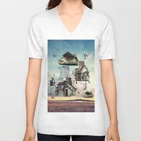house V-neck T-shirts featuring house by Кaterina Кalinich