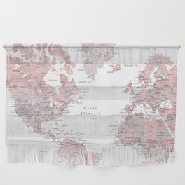 Dusty pink & grey watercolor world map cropped Wall Hanging