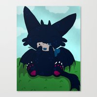 toothless Canvas Prints featuring Toothless by DaemonDeDevil