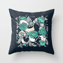 Berries and Snake Florals Throw Pillow