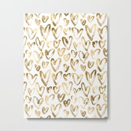 Gold Love Hearts Pattern on White Metal Print