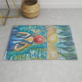 little fisher with red hat Rug
