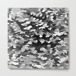 Foliage Abstract Pop Art In Monotone Black and White Metal Print