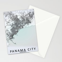 Panama City, Panama, White, City, Map Stationery Cards
