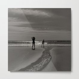 Beach black white light Metal Print