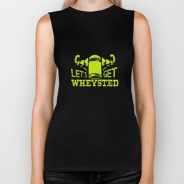 Workout Funny Shirt I whey protein abs muscles Biker Tank