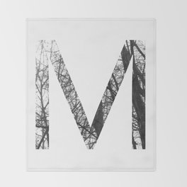 Minimal Letter M Print With Photography Background Throw Blanket