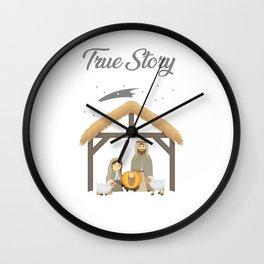 Jesus True Story Christmas Day Xmas Birth of Jesus Birth Story Celebration Wall Clock