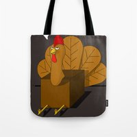 cock Tote Bags featuring COCK BLOCK  by JON GRIM