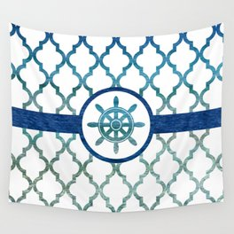 Ship Helm: Tropical Water Moroccan Pattern Wall Tapestry