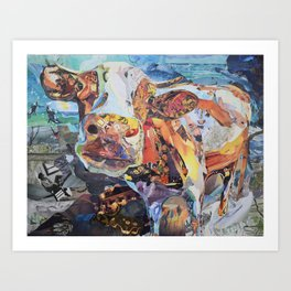 Colorful Cow Wall Art Collage by CE White Art Print