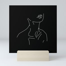 Nude neck 1 in black Mini Art Print