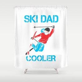 Ski Dad Gift Skiing Skier Men Daddy Shirt Shower Curtain