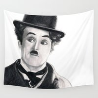 charlie Wall Tapestries featuring Charlie Chaplin by Art by Boothe