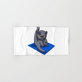Yoga cat - Angry cat - grey cat - fat cat Hand & Bath Towel