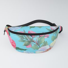 Pink and Blue Floral Print On Aqua Background Fanny Pack