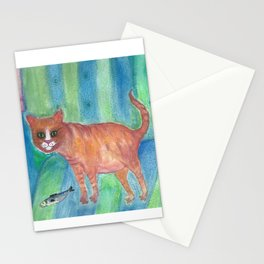 A Tomcat and his Fish Stationery Cards