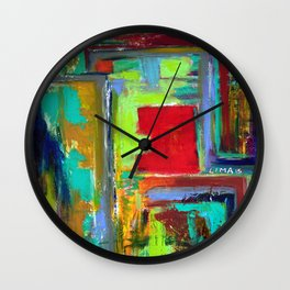The never ending Maze: Bright Multi Color Abstract Painting Wall Clock
