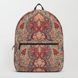 Pretty Coral & Blue-Gray Paisley Pattern Backpack