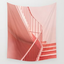 Pink steps | Pastel colored staircase in Cannes France | Travel architecture photography Wall Tapestry