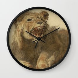 Cornelis Saftleven - A Lion Snarling Wall Clock