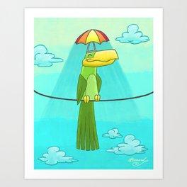 Umbrella Hat Bird Lounging on a Wire! Art Print