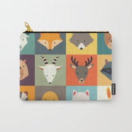 Set of cute animals icons, vector illustrations on colored background. Carry-All Pouch