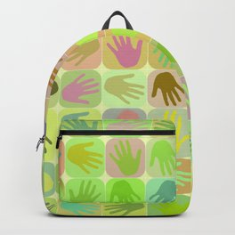 Multicolored hands pattern Backpack