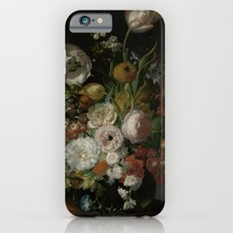 Rachel Ruysch - Still life with flowers in a glass vase (1690-1720) iPhone Case