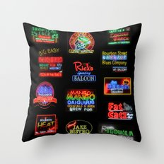 Bourbon Street Neon Signs Throw Pillow