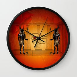 The all seeing eye with anubis Wall Clock