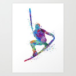Wakeboarding Boy Watercolor Art Watersports Gift Wakeboarder Gift Art Print