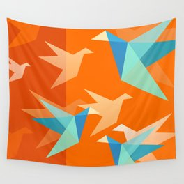 Orange Paper Cranes Wall Tapestry