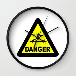 Triangle Barbed Wire Warning Sign Wall Clock