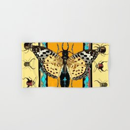 BUTTERFLY WESTERN YELLOW-ORANGE-TURQUOISE INSECT  PATTERNS Hand & Bath Towel