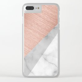 Rose Gold and Marble Clear iPhone Case