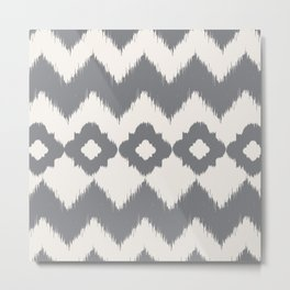 Grey Ikat Metal Print